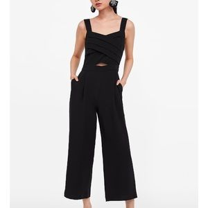 Zara cut out jumpsuit with pleats
